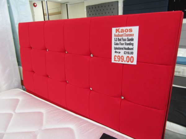 5.0 Red Faux Suede Cuba Floor Standing Headboard
