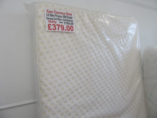 5.0 Shire Picasso 1000 Pocket Sprung Cool Blue i Gel Mattress - Clearance